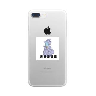 お藤とアイスクリーム(ロゴ) Clear smartphone cases