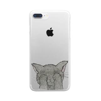 てれにゃんこ Clear smartphone cases