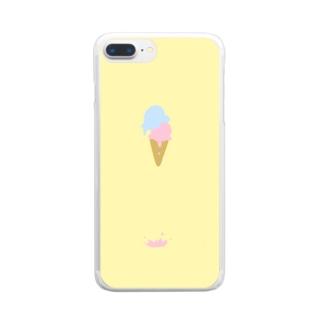 溶けたアイスクリーム Clear smartphone cases