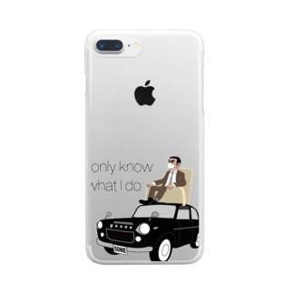 レトロカーと太マユマスクCEO Clear smartphone cases
