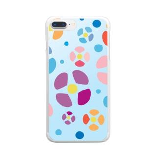 涼しげな夏の花 Clear smartphone cases