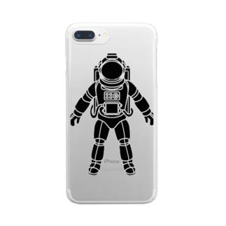 夢見る宇宙服-シルエット-黒 Clear smartphone cases