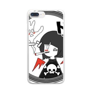のりのきりの店🌙のスモーキングデビル🚬👿 Clear smartphone cases