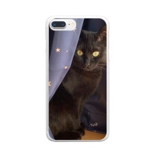 黒猫のかくれんぼ Clear smartphone cases