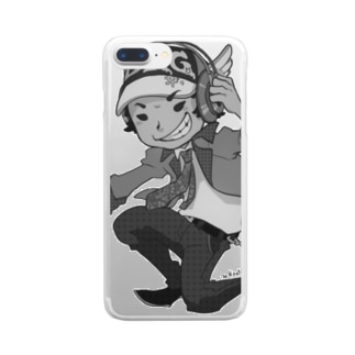 でき心。アイコンキャラクターモノクロ Clear smartphone cases