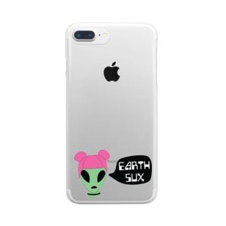 savmakesthingsのエイリアン Alien Girl Clear smartphone cases