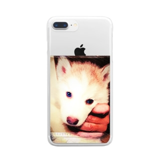 ちびっ子ハスキー チコリちゃん Clear smartphone cases