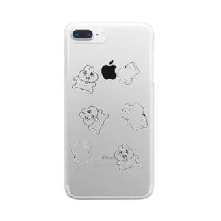 前歯🐰とプリケツ🧸 Clear smartphone cases