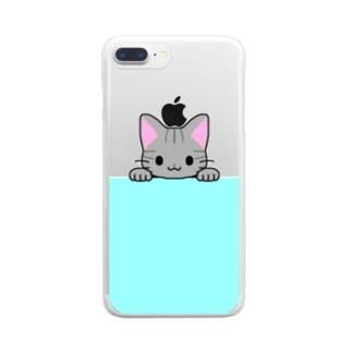 ゆめかわ屋 いそぎんちゃくのひょっこりサバトラ猫 水色 Clear smartphone cases