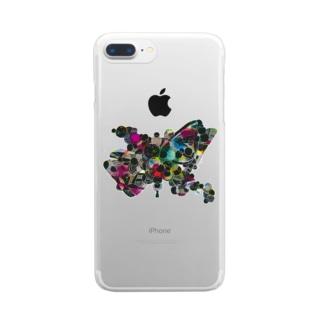 カラフル蝶々(背景透過) Clear smartphone cases