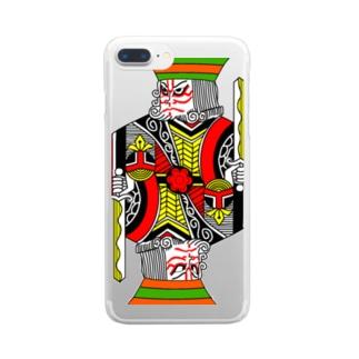 中2男子の歌舞伎メイク Clear smartphone cases