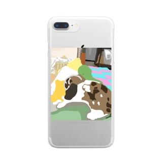 ノイ氏の日常/怪獣ver. Clear smartphone cases