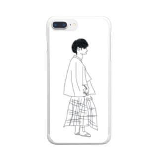 どこぞの横顔 Clear smartphone cases