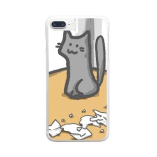 任務完了にゃんこ Clear smartphone cases