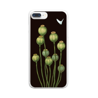 Flower bud and Small butterfly Clear smartphone cases
