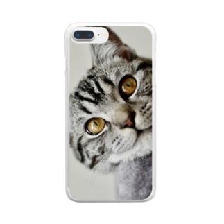猫の笑顔に癒されて Clear smartphone cases