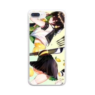 輪切りのフルーツガール🍋檸檬 Clear smartphone cases