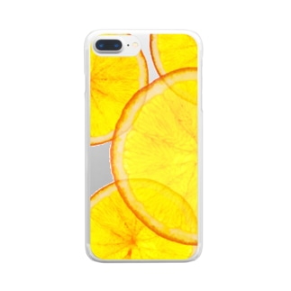 ドライフルーツ風 オレンジ クリア スマホケース Clear smartphone cases