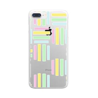 yuruholismの幾何学 図形 模様 ピンク イエロー 黄色 グリーン 緑 水色 ブルー 薄い Clear smartphone cases