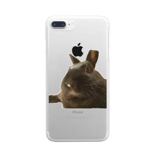 くつろぐウサギ こじろう Clear smartphone cases
