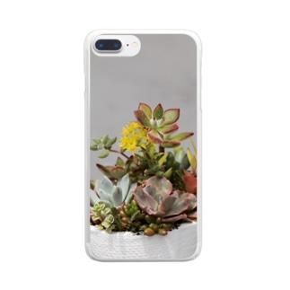 多肉植物 セダムの花 Clear smartphone cases