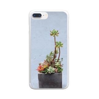 多肉植物 乙女心 ウラ Clear smartphone cases