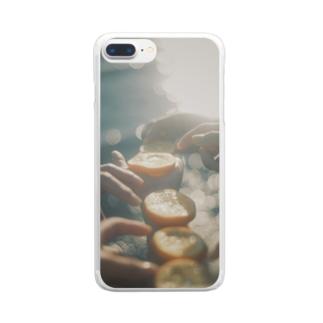 海とオレンジ Clear smartphone cases