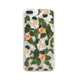 garellynaruの椿柄 Clear smartphone cases