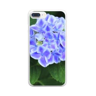 ブルーなアジサイ Clear smartphone cases