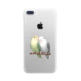 コザクラインコ モーブとオリーブ【まめるりはことり】 Clear smartphone cases