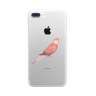 まめるりはことりのアキクサインコ ピンク【まめるりはことり】 Clear smartphone cases