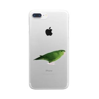 サザナミインコ グリーン【まめるりはことり】 Clear smartphone cases