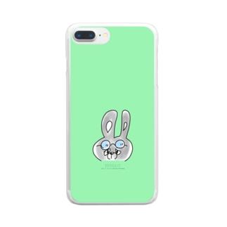edysdays〜ウサギのエディ〜の黒ウサギのジョニー 真顔 緑 グリーン Clear smartphone cases