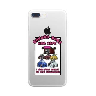 USAcafeティンカーベルのクレープやさんのサクラベースとゆかいな仲間たち Clear smartphone cases
