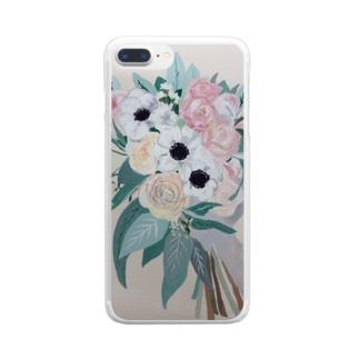 tanaosanのピンクのブーケ Clear smartphone cases