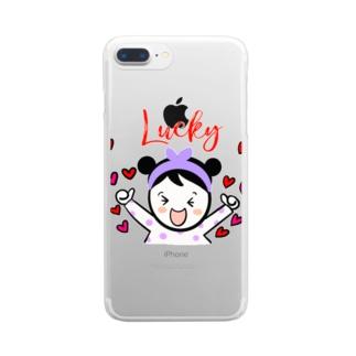 ラッキースマイルちゃん Clear smartphone cases