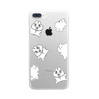 前歯🐰とプリケツ🧸(白バージョン) Clear smartphone cases