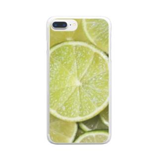 ライム-Lime Clear smartphone cases