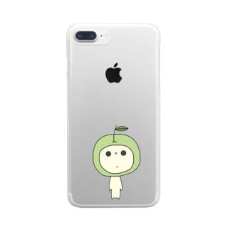 見つめてくるあおりんご Clear smartphone cases