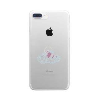 雲に浮かぶ山(カラーver) Clear smartphone cases
