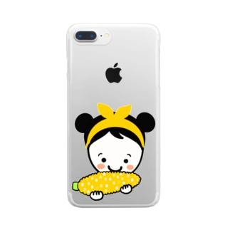 もろこしスマイルちゃん Clear smartphone cases