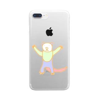 屋根裏ひみつ結社のフェレット【WAROLIER-ワロリエ】  Clear smartphone cases