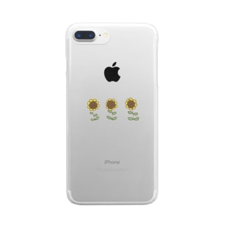 marubub65のひまわり Clear smartphone cases