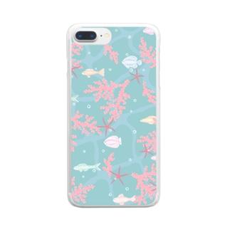 coral sea Clear smartphone cases