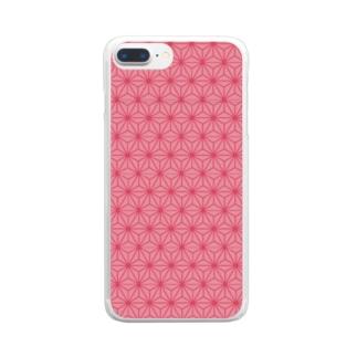 麻の葉文様 ピンク 鬼滅の刃 ねずこ Clear smartphone cases