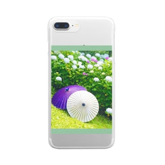 番傘と紫陽花 Clear smartphone cases