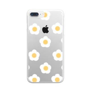 White Flower(スケルトン) Clear smartphone cases