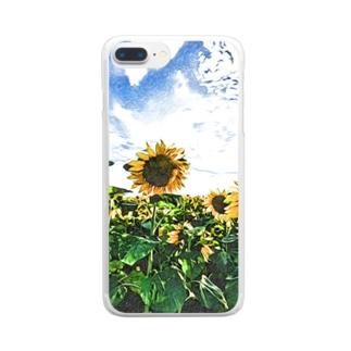 ヒマワリ Clear smartphone cases