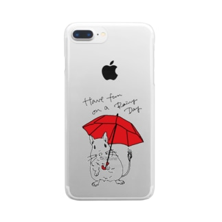 Have fun on a Rainy day (Red Umbrella) Clear smartphone cases
