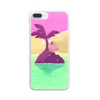 POPCOЯN ︰ suzuri支店のなんこつザウルスin無人島 Clear smartphone cases
